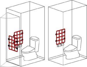 テスリックス紙巻器等の位置関係(洋式トイレ)